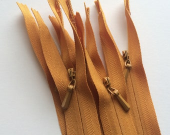 INVISIBLE Zippers- YKK Color 848 Antique Gold- 5 Pieces- Currently available in 9,16 and 22 Inch
