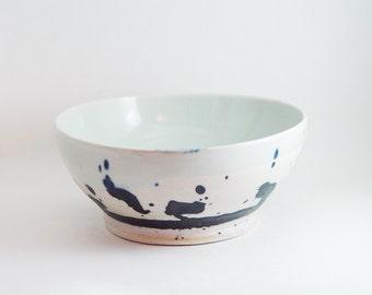 "Porcelain Serving Bowl, Silver Grey & Indigo Blue colors, ""Ink Splash"", Kitchen Soup dish Cereal 6 inch, Wheel Thrown pottery ceramic"