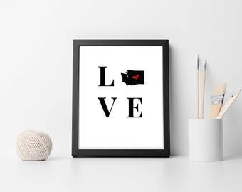 Printable Art, Washington Love, Instant Download