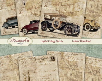 75% OFF SALE Retro Nostalgia - Digital Collage Sheet Digital Cards C094 Printable Download, Car, Automobile, Men, Digital Atc, ACEO Vintage