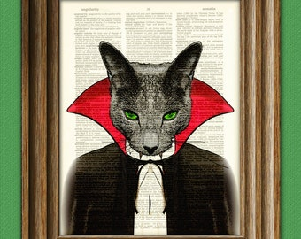 Cat Von Scratchula VAMPIRE CAT with cape and fangs illustration upcycled dictionary page book art print