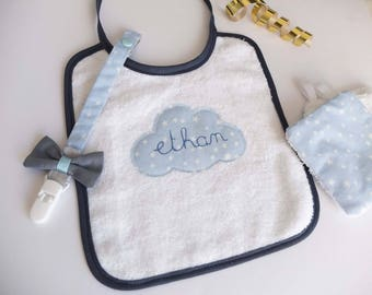 Handmade baby bib boy with name personalized