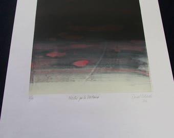 "Silkscreen print, ""Night out the Window"""