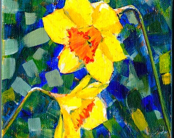Daffodil on Canvas, Original Daffodil Painting, Floral Art, Spring Flower Painting, Mother's Day Gift, Small Art, Cheerful Daffodil, Wales