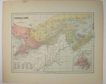 ontario canada map quebec canada map 1896 antique map maritime map canada east vintage