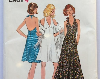 Vintage Butterick halter neck dress sewing pattern 6634 - size 10 bust 32 1/2 inches 83 cm