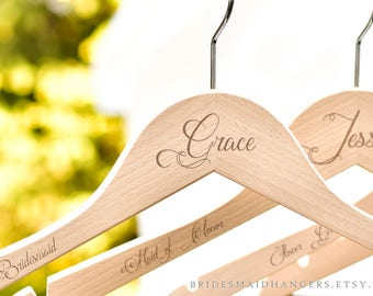 Wedding Hangers, Bridesmad Hangers, Bridesmaid Proposal Gift, Personalized Hangers, Bride Hangers,Bridal Hangers, Dress Hangers H04