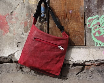 Red Hip Bag, Waxed Canvas  Bag, Fanny Pack, Waist Bag, Bicycle Bag, Waist Pack,