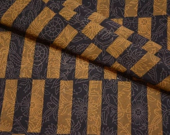 Black And Brown Block Print Fabric By The Yard