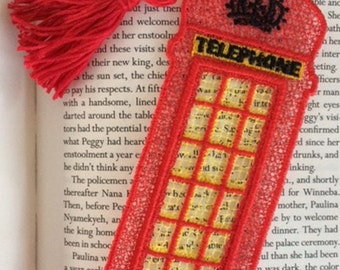 FSL BookMark London Phone Booth - Book Lovers Gift - London is Calling - FSL - Embroidery Design - Multiple Formats