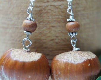 English Hazel Nut & Sandalwood Earrings for Wisdom - Pagan, Wicca, Witchcraft, Charms, sterling silver