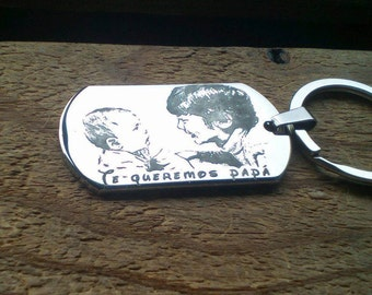 Personalized keychain, engraved with photo on stainless steel