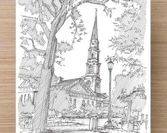Ink Drawing of Church near Chippewa Square, Savannah, Georgia - Drawing, Art, Architecture, Sketch, Tree, Pen and Ink, 5x7, 8x10, Print