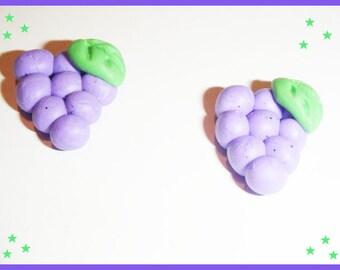 2 cabochon Fimo polymer clay - grape