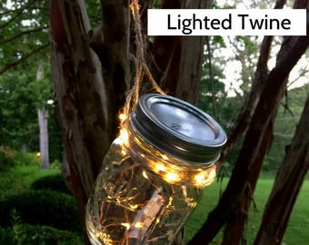 Rustic Wedding Fairy Lights - New! 15-ft Twine Lights with 50 warm white LEDs.  Perfect for rustic decor, centerpieces, and wall art.