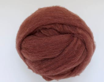 Polypay Wool Roving for Spinning -- Pecan