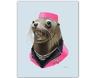 Sea Lion Lady art print 11x14