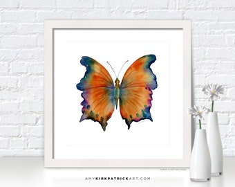 Orange BUTTERFLY Painting, Butterfly Art, Butterfly Print, Original Butterfly Watercolor, Butterfly Greeting Cards, 01 Wizard Butterfly