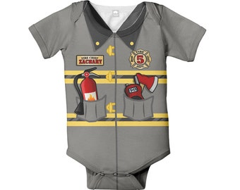 Firefighter Baby Bodysuit, Personalized Fireman Birthday Outfit, Baby Fire Man One-Piece