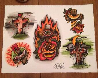 Traditional tattoo flash. Set 1. Sheet 2.