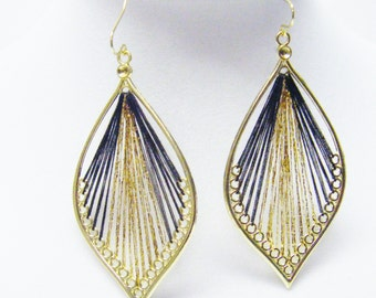 Woven Marquis Brown/Gold Earrings