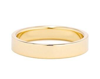 4mm Flat Wedding Ring, Unisex 14K Gold Band, Modern 4mm Men's Gold Wedding Ring, Mens or Womens Wedding Ring