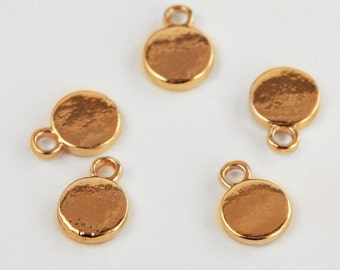 Round Gold Stamping Blank. Extra THICK and gorgeous! Shiny gold tone. 8mm. Stamping tag. Hand-stamped jewelry, initial charms. QTY 20 (CL-5)