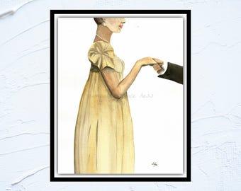 Jane Austen Gift, Original Watercolour Painting, Regency Dress, Emma, Pride and Prejudice, Mr Darcy, Gift for Women