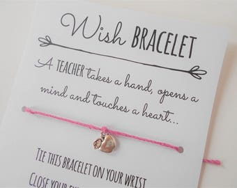 Teacher Wish Bracelet, Tie-on Charm Bracelet, Thank You Teacher, Teacher Appreciation, Friendship Bracelet, Teacher Gift, Wish Bracelet Gift