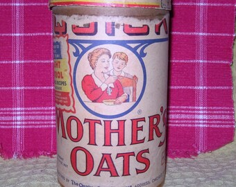 Vintage Mother's Oats by the Quaker Oats Company Cardboard Container - Vintage 1930's Mother's Oats Container
