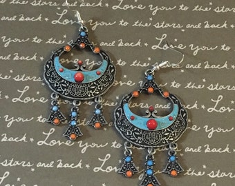 Gorgeous blue and orange chandelier earrings