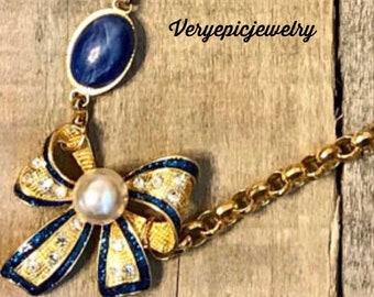Vintage Blue Bow Repurposed Necklace, Vintage Bracelet Necklace, Ornate Blue Bow Pendant, Assemblage necklace, women's elegant necklace