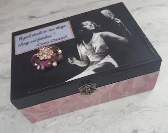 Decorative medium sized keepsake box, retro glamour, coco chanel, gift, Jinx Falkenberg, 1940's style keepsake box