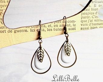 White drops earrings enameled and leaves jewelry Bohemian, retro, vintage, bronze, creator, hippie, fancy brass -
