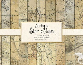 Antique Star Maps Digital Paper, Constellation Celestial Atlas Zodiac Star Chart Scrapbook Paper, Astronomy Backgrounds
