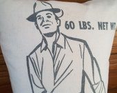 50s Grain Sack Feather Pillow Salesman BIG Honest John Vintage Seed Bag