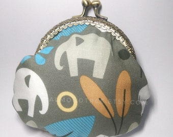 Elephant, forest snap clasp purse, handmade kisslock snap metal frame pouch id171017, portefeuille, portemonnaie