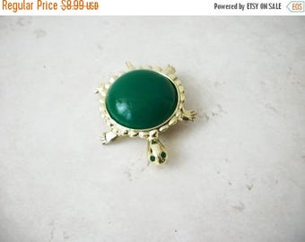 ON SALE Vintage Gold Tone Green Rhinestone Eyes Turtle Pin 62717
