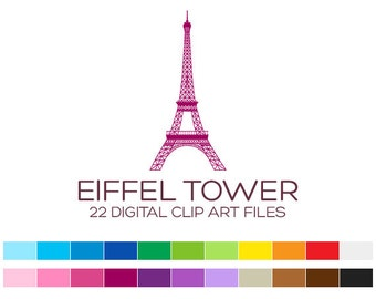 Eiffel Tower Clipart for Personal & Commercial Usage - 22 digital Eiffel Towers / 3x7 inches - A00104