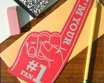 """letterpress #1 fan """"foam"""" finger die-cut flat note red with silver i'm your number 1 fan sports, university"""
