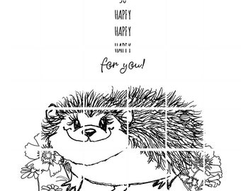 HAPPY HEDGEHOG with sentiment - instant download digital stamps by Tierra Jackson