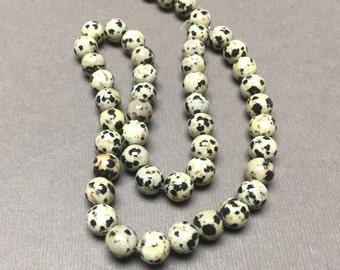 Dalmation Jasper Round Beads. Black. Sand. Opaque. Gemstone Beads. Center Drilled. 8mm. Full 16 Inch Strand.