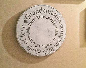 ON SALE Distressed wood grandchildren sign - grandchildren complete life's circle of love - gift for grandparents - gift for grandma - gift