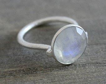Moonstone Silver Band Ring