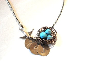 Birdnest Turquoise Nest Necklace Spring Necklace Personalized Mom Child Necklace Birdnest Jewelry Hand Stamped Tags