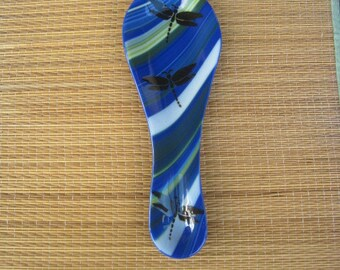 Dragonfly Fused Glass Spoon Rest