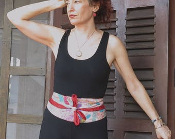 """Reversible and adjustable belt in cotton and silk """"Sina"""""""