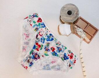 colorful floral panties, bohochic hipster, bridal bohemian panties