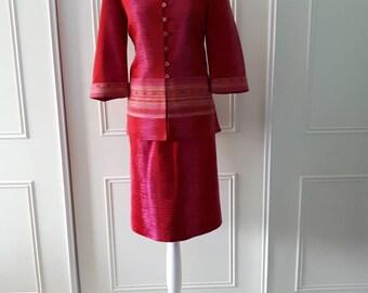 Paul Mausner suit 1980's vintage suit 2 piece suit skirt suit ladies vintage suit patterned suit size 12