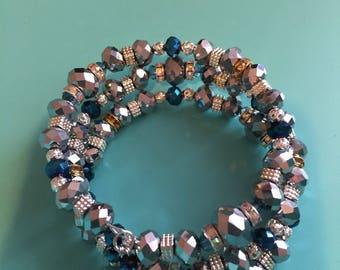 Beaded Wrap Bracelet / Charm Bracelet / Memory Wire Bracelet / Christmas Bracelet/ Silver Bracelet/ Gift Idea / Women's Bracelet / Gift Idea